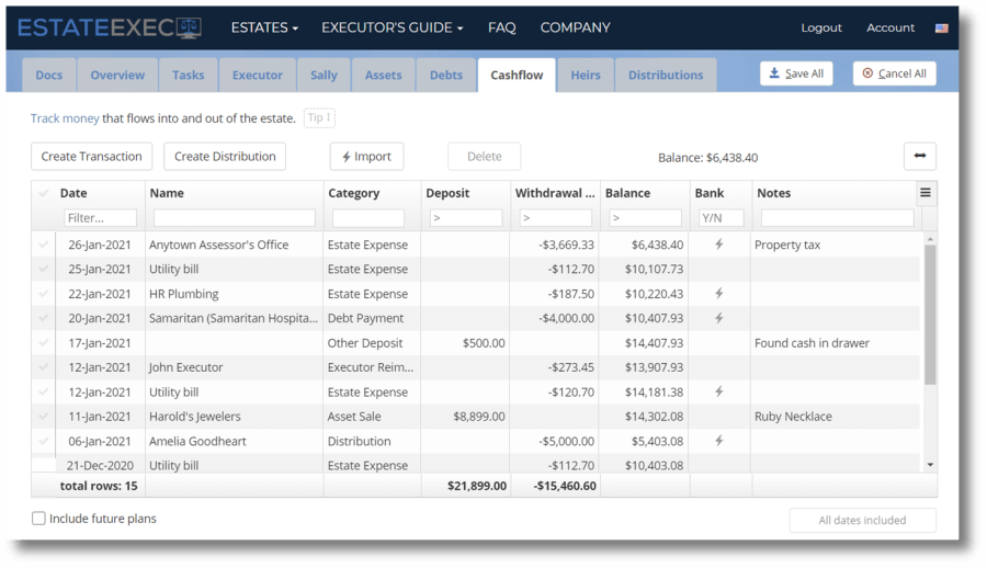 Cash ledger with bank import connections
